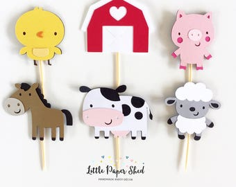 Handmade Cupcake Toppers - Farm Barnyard Theme x 12