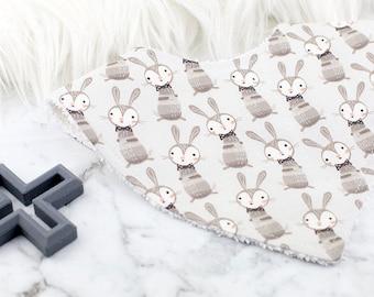 Bandana Bib, Bunny Bib, Gender Neutral Bib, Baby Gift, Baby Shower Gift, Baby Bib, Dribble Bib, Rabbit Bib, Bibs and Burping
