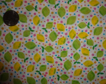 Lemons Limes Polka Dots Citrus JoAnn Cotton Quilting Fabric BTY by the yard