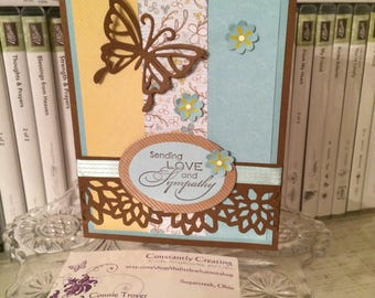 Sending Love, Handmade Greeting Card, Sympathy Card, I'm Sorry, Sylvana Rossetti Quote, Butterfly Sympathy, Flowers, Butterfly Cards