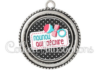 Cabochon pendant 25mm nanny tearing toy rattle - 15 series