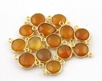 CIJ SALE 14 Pcs Yellow Chalcedony 925 Sterling Vermeil Faceted Round Double Bail Connector - 16mmx10mm-20mmx10mm SS1390