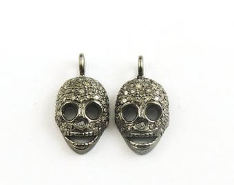 VALENTINE DAY SALE 1 Pc Antique Finish Pave Diamond Skull Charm 925 Sterling Silver Pendant - 17mmx9mm Pdc508
