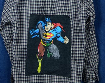 Upcycled Justice League Plaid Shirt