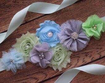 Flower Sash, blue grey light green Sash, mint sash  , flower Belt, maternity sash,