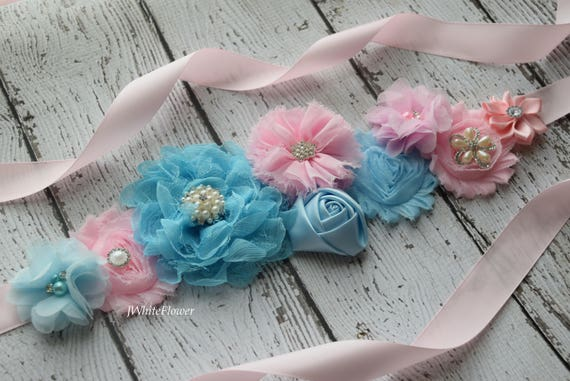 Sash, light pink and light blue  Sash ,M #5 ,  flower sash, reveal gender sash, flower Belt, maternity sash