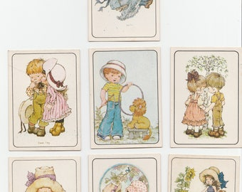 Lot 7 Vintage Sarah Kay Children Girl Panini Italy Stickers