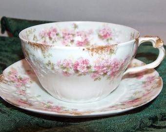 8254: Antique CH Charles Field Haviland Limoges GDA France Tea Cup & Saucer Pink Roses Fine Porcelian China at Vintageway Furniture