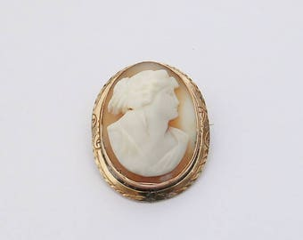 Antique Gold Filled Carved Shell Cameo Brooch Pin