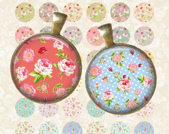 SALE 50% Pastel Floral Circle - Digital Collage Sheet 1 inch Printable Circles Download for pendants magnets bottle caps