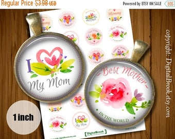 SALE 50% Digital Collage Sheet Happy Mother's Day 1inch 25mm Printable Circles Download for pendants magnets bottle cups - 182