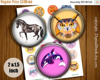 SALE 50% Digital Collage Sheet triangle Animals 2 inch 1.5 inch Printable circle images for Pocket Mirrors Magnets Labels Pendant - 166