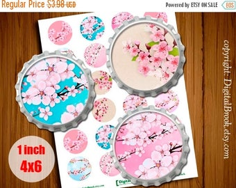 SALE 50% Cherry blossom #2 1 inch 25mm Bottle Cap Images - 4x6 Digital Collage Sheet Printable for pendants pendants bottle cap - 286