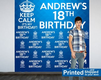 Keep Calm Personalized Photo Backdrop -18th Birthday Photo Backdrop- Royal Birthday Photo Backdrop - Custom Backdrop, Cake Table Backdrop