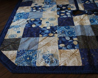 Blue Quilted Square Christmas Tree Skirt