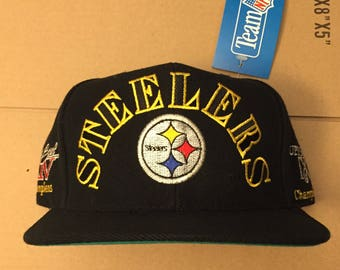Vintage deadstock pittsburgh steelers super bowl champions patch champs snapback hat cap 90s jersey logo annco pirates nfl 70s dynasty 90s