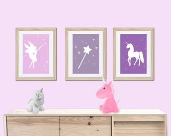 3 posters of a little fairy and unicarn, fairy, girl nursery, wall décor, baby girl, princess