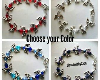 Angel Bracelet Choose from Purple, Clear, Blue or Red / Faith, Angels, Spiritual, Grandmother, Grandma, Mom
