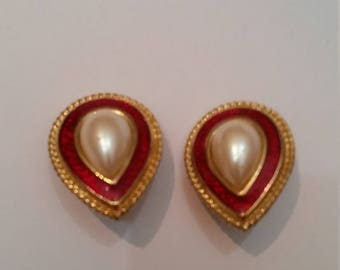 Vintage Monet Gold Earrings Pearl Red Enamel