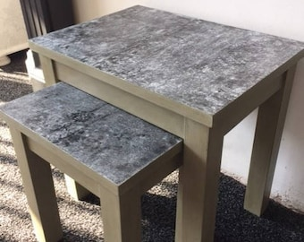 Metal effect coffee table nest, truly unique distressed metal work