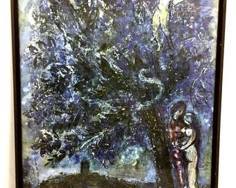 Marc Chagall Vence Lovers Under Tree Night Limited edition Unsigned Print 1953-4