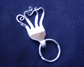 "Fork Key Ring - ""Waves"" Fork Key Chain, Fork Tines, Silverware Art"