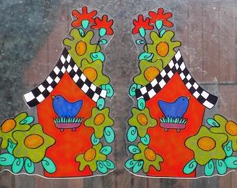 wicoart sticker window static cling faux stained glass handpainted ooak faux vitrail lot of 2 corners bird house