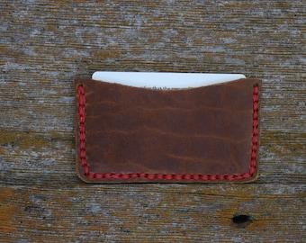 Handmade Bison Brown Leather Slim Wallet / Credit Card Holder