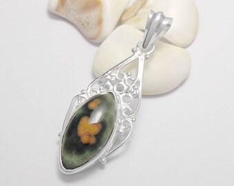 925 Sterling Silver Ocean Jasper Gemstone Pendant