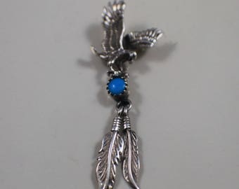 Sterling Silver Eagle with Feathers Pendant