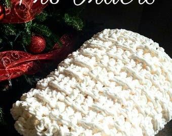 Crocheted Chunky Throw Blanket in Basket Weave