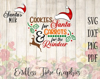 Cookies for Santa SVG. Carrots for Reindeer SVG. Santa's Milk Svg. Milk and Cookies For Santa. DIY Christmas Plate 313