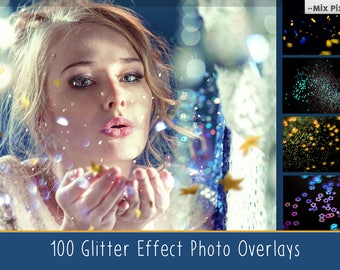 Glitter Effect Photo Overlays, Blowing Glitter Photoshop Overlays, Confetti Photo layer, fairy dust effect, glitter overlay, bokeh overlay