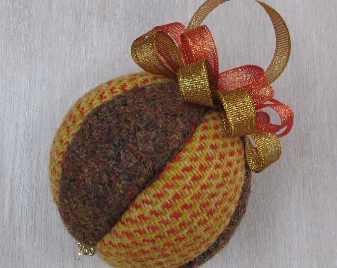 Harris Tweed Orange & Russet Luxury Christmas Bauble   #104