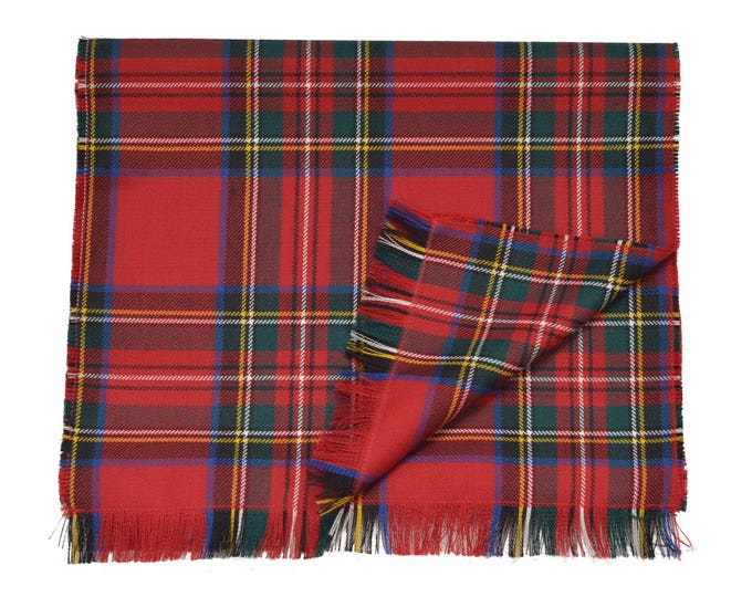 Royal Stewart Tartan 100% Wool Fringed Scarf