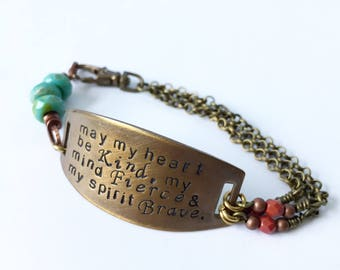 may my heart be fierce bracelet in bronze and copper with turquoise and maroon glass details