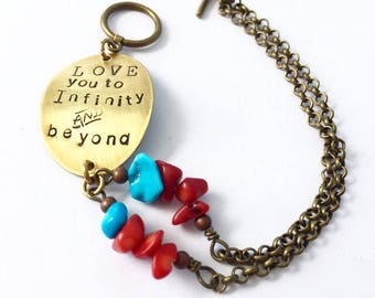 love you to the infinity and beyond bracelet in bronze with turquoise and coral detail