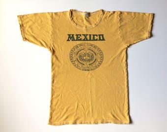 Vtg. MEXICO AZTEC CALENDAR Vintage 70s T-Shirt / Size Small