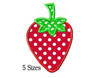 Strawberry Applique Machine Embroidery Digital Download