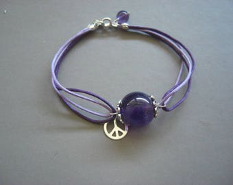 """Amethyst, silver bracelet Sterling and cotton """"Dragon"""""""