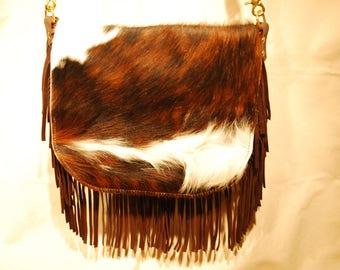 Fringed Shoulder Bag with Cowhide