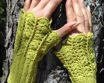 Fingerless gloves with thumb Merino anise