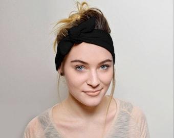 Black Headbands for women, Top Knot Headband Adult Women's Hair Accessories