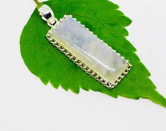 10% Rainbow Moonstone Pendant/ necklaces set in Sterling silver 925. Natural authentic rectangle moonstone. Length - 2 inch long. Open back.
