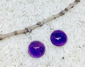 10% Amethyst Earrings set in Sterling silver (92.5) genuine natural amethyst stones.