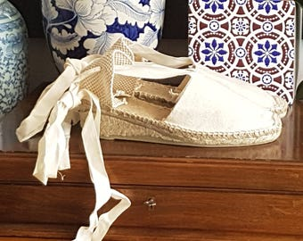 """OUTLET: Lace up espadrille wedges (1.97"""") - IVORY - mumishoes - made in spain"""