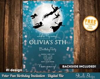 Peter Pan Invitation, Peter Pan Birthday Invitation, Peter Pan Party, Neverland Invitation, Peter Pan, Digital File, Printables 001