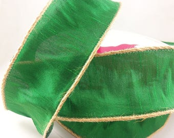 2 1/2 Inch Green Woven Ribbon With Jute Wired Edge