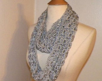 On Sale- Silver Gray Infinity Scarf Cowl Womens Lace Neckwarmer Winter Extra Long