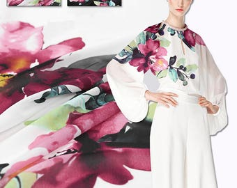 150*115CM 260G/M Floral Print Spring and Summer Shirt Dress Polyester Fabric Black White Available E341
